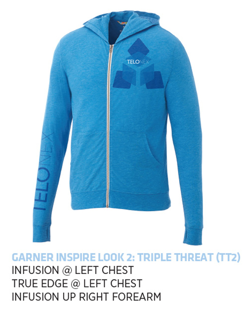Garner Knit Full Zip Hoody - Men's | Olympic Blue Heather - Decorated Image