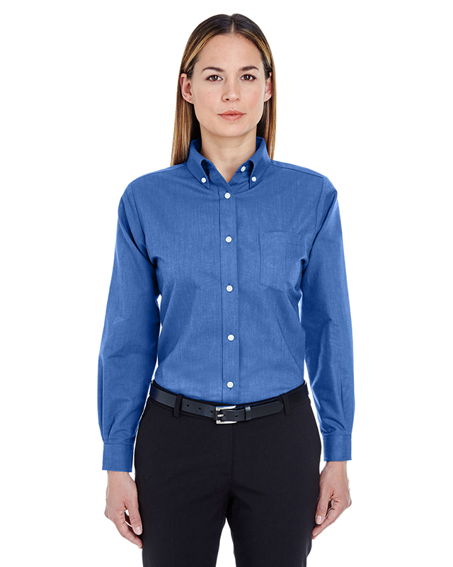 UltraClub Ladies' Classic Wrinkle-Resistant Long-Sleeve Oxford