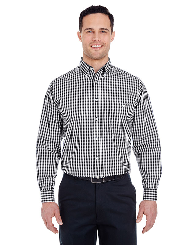 UltraClub Men's Medium-Check Woven