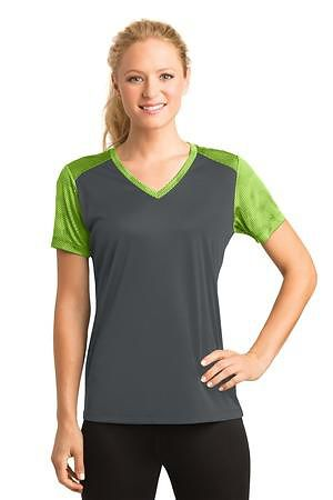Sport-Tek Ladies CamoHex Colorblock V-Neck Tee
