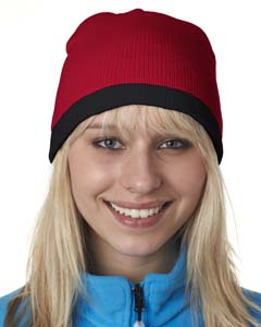 Adult Two-Tone Knit Beanie