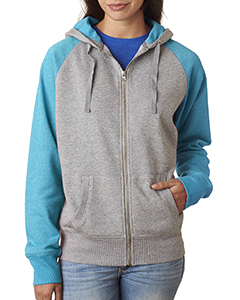 Ladie's Glitter French Terry Contrast Full-Zip Hood