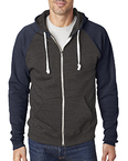 Adult Triblend Colorblock Full-Zip Fleece Hood