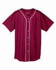 Youth Shorts Sleeve Full Button Baseball Top