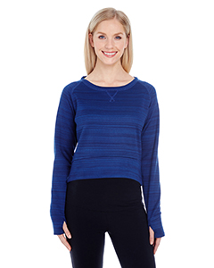 Ladies' Striped Poly Fleece Hi-Lo Crew