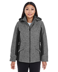 Ladies' Midtown Insulated Fabric-block Jacket with Crosshatch Melange