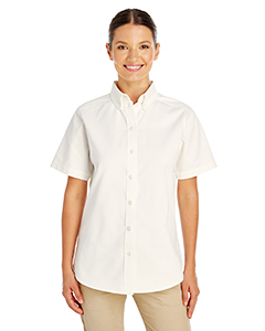 Ladies' Foundation 100% Cotton Short-Sleeve Twill Shirt Teflon™