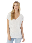 Ladies' Melange Burnout Slinky V-Neck T-Shirt