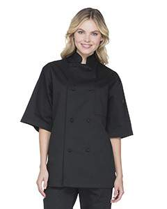 Unisex Classic Knot Button Short Sleeve Chef Coat