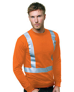 6.1 oz., 100% Cotton Hi-Visibility Solid Striping Long Sleeve T-Shirt