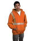 9.5 oz., 80/20 Hi-Visibility Segmented Striping Full-Zip Hooded Sweatshirt
