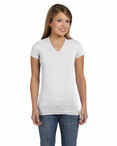 Juniors' Fine Jersey V-Neck Longer Length T-Shirt