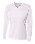 Ladies' Long Sleeve V-Neck Birds Eye Mesh T-Shirt