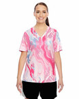 Ladies' Short-Sleeve V-Neck All Sport Sublimated Pink Swirl Jersey
